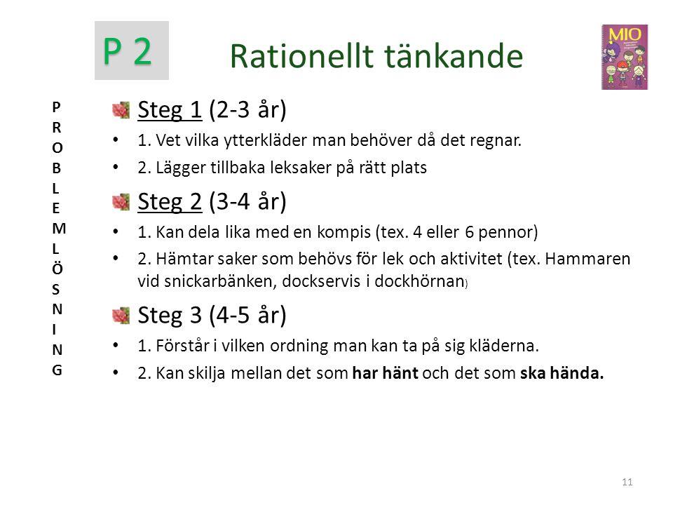 Rationellt tänkande Steg 1 (2-3 år) • 1. Vet vilka ytterkläder man behöver då det regnar. • 2. Lägger tillbaka leksaker på rätt plats Steg 2 (3-4 år)