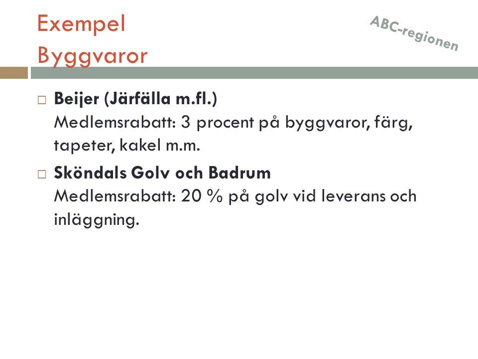 Exempel Byggvaror  Beijer (Järfälla m.fl.) Medlemsrabatt: 3 procent på byggvaror, färg, tapeter, kakel m.m.  Sköndals Golv och Badrum Medlemsrabatt: