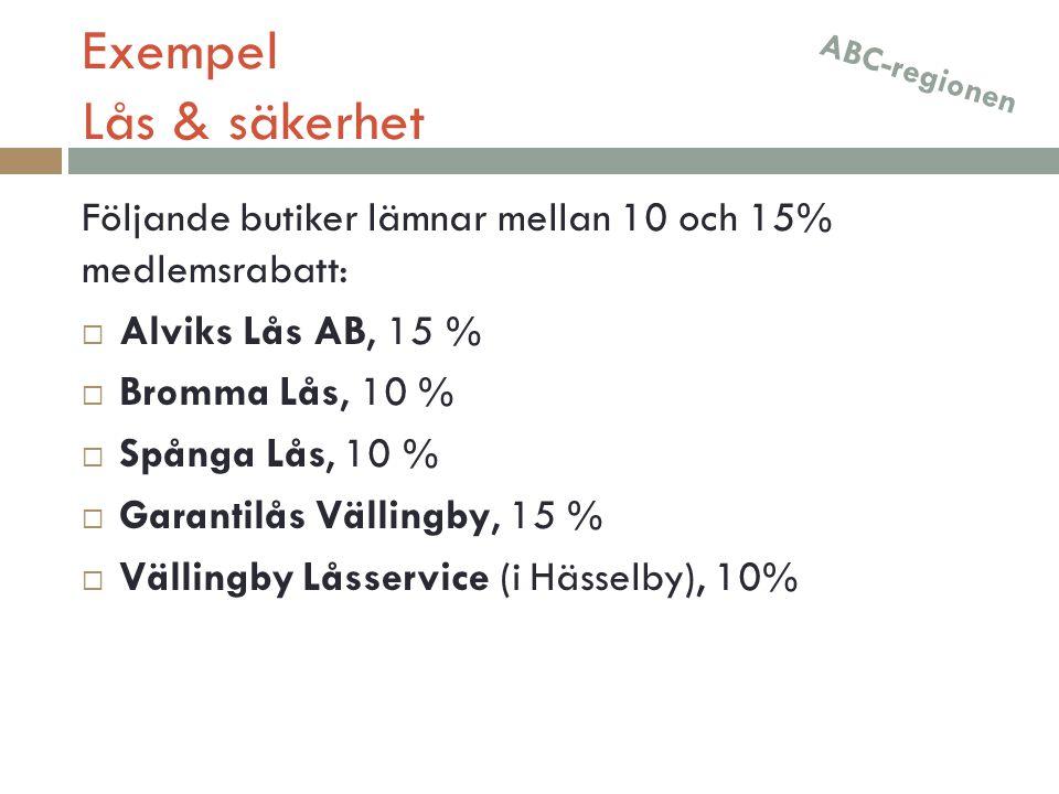 Exempel Lås & säkerhet Följande butiker lämnar mellan 10 och 15% medlemsrabatt:  Alviks Lås AB, 15 %  Bromma Lås, 10 %  Spånga Lås, 10 %  Garantil