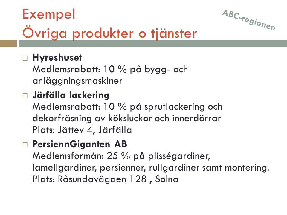 Exempel Övriga produkter o tjänster  Hyreshuset Medlemsrabatt: 10 % på bygg- och anläggningsmaskiner  Järfälla lackering Medlemsrabatt: 10 % på spru