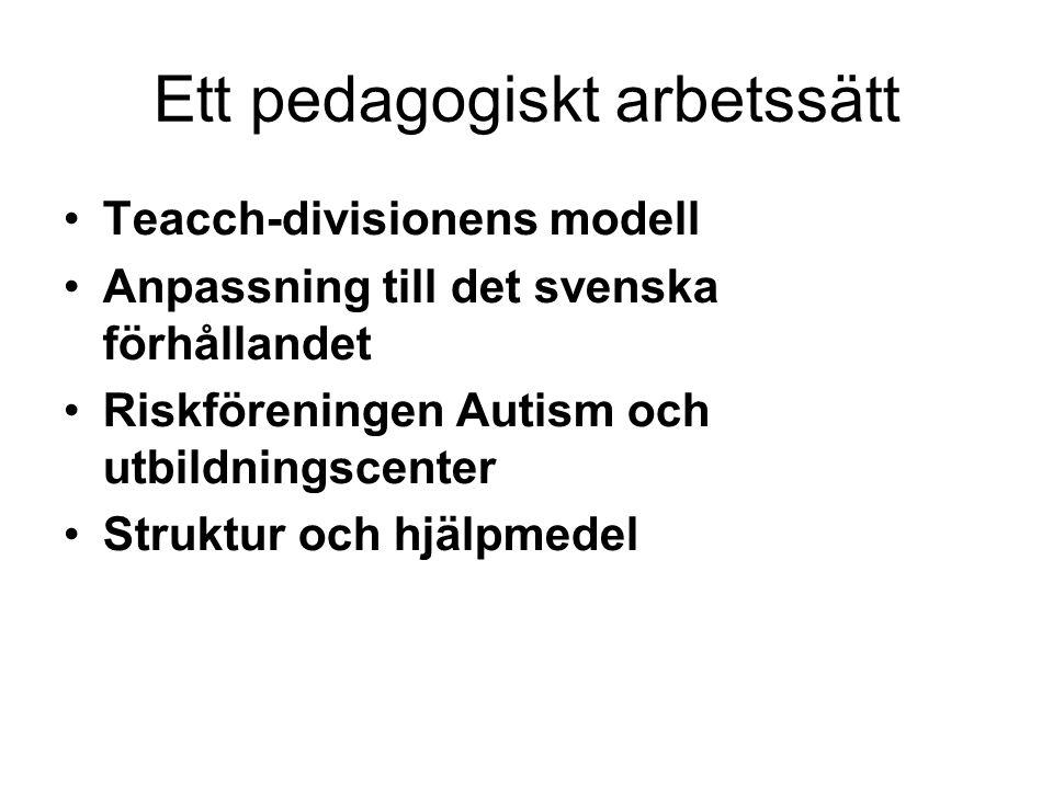 Ett pedagogiskt arbetssätt •Teacch-divisionens modell •Anpassning till det svenska förhållandet •Riskföreningen Autism och utbildningscenter •Struktur och hjälpmedel