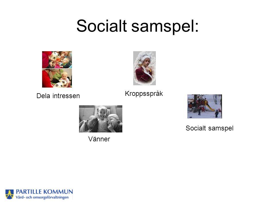 Socialt samspel: Vänner Kroppsspråk Socialt samspel Dela intressen