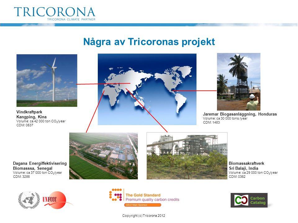 Några av Tricoronas projekt Vindkraftpark Kangping, Kina Volume: ca 42 000 ton CO 2 /year CDM: 0537 Jaremar Biogasanläggning, Honduras Volume: ca 30 0