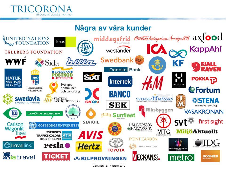 Några av våra kunder Copyright (c) Tricorona 2012