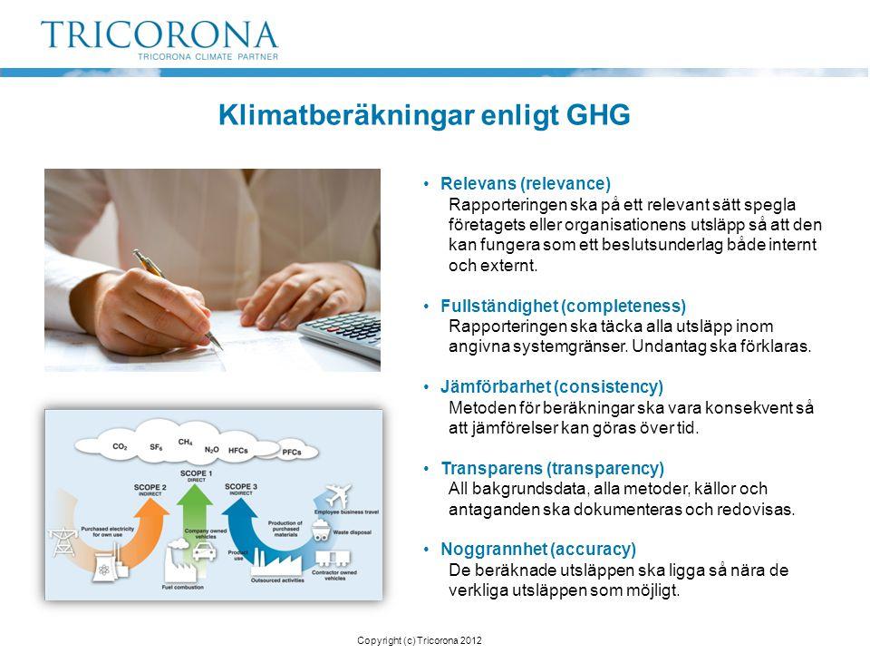 Klimatberäkningar enligt GHG •Relevans (relevance) Rapporteringen ska på ett relevant sätt spegla företagets eller organisationens utsläpp så att den