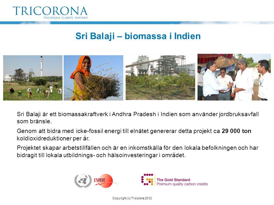 Sri Balaji – biomassa i Indien Sri Balaji är ett biomassakraftverk i Andhra Pradesh i Indien som använder jordbruksavfall som bränsle. Genom att bidra