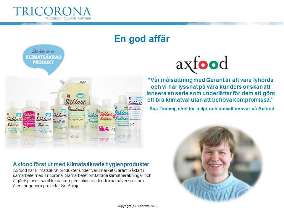 En god affär Axfood först ut med klimatsäkrade hygienprodukter Axfood har klimatsäkrat produkter under varumärket Garant Såklart i samarbete med Trico
