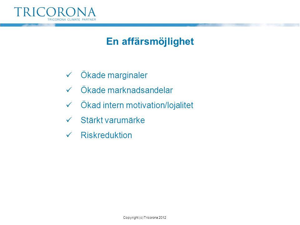 Ökade marginaler  Ökade marknadsandelar  Ökad intern motivation/lojalitet  Stärkt varumärke  Riskreduktion En affärsmöjlighet Copyright (c) Tric
