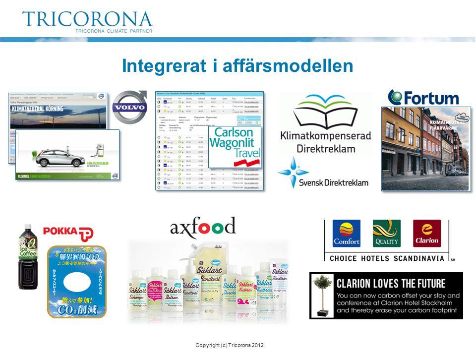 Integrerat i affärsmodellen Copyright (c) Tricorona 2012