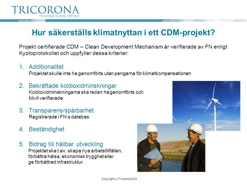 Projekt certifierade CDM – Clean Development Mechanism är verifierade av FN enligt Kyotoprotokollet och uppfyller dessa kriterier: 1. Additionalitet P