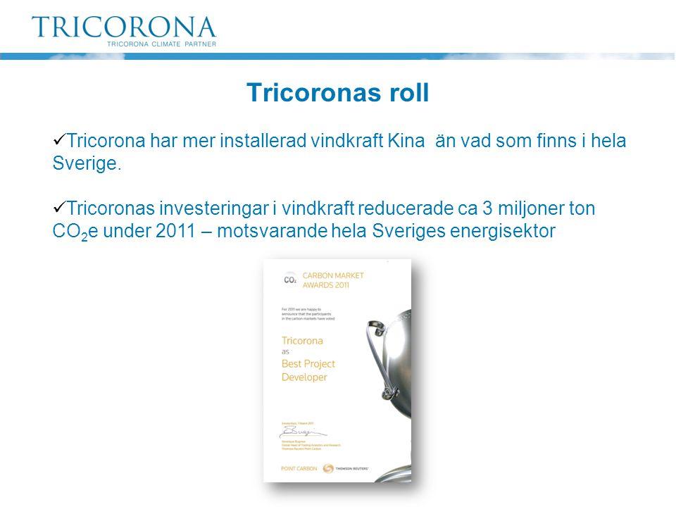  Tricorona har mer installerad vindkraft Kina än vad som finns i hela Sverige.  Tricoronas investeringar i vindkraft reducerade ca 3 miljoner ton CO