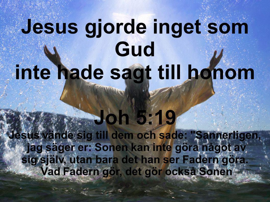 Jesus gjorde inget som Gud inte hade sagt till honom Joh 5:19 Jesus vände sig till dem och sade: