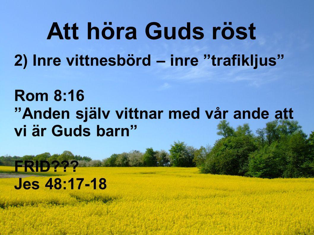 """Att höra Guds röst 2) Inre vittnesbörd – inre """"trafikljus"""" Rom 8:16 """"Anden själv vittnar med vår ande att vi är Guds barn"""" FRID??? Jes 48:17-18"""