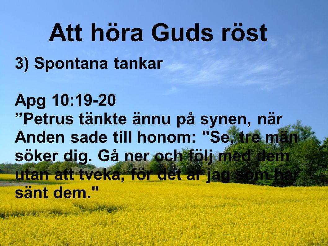 """Att höra Guds röst 3) Spontana tankar Apg 10:19-20 """"Petrus tänkte ännu på synen, när Anden sade till honom:"""