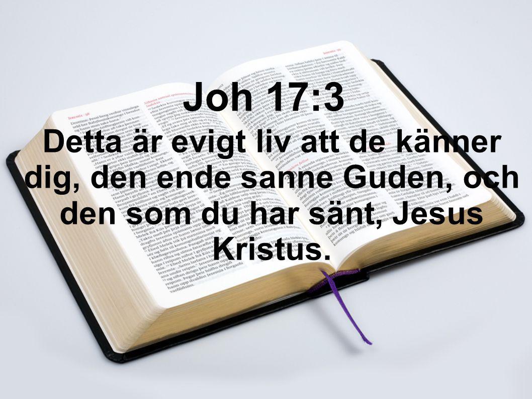 Detta är evigt liv att de känner dig, den ende sanne Guden, och den som du har sänt, Jesus Kristus. Joh 17:3