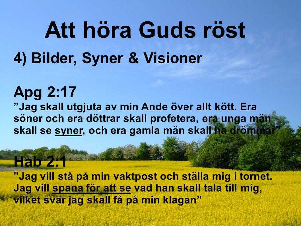 """Att höra Guds röst 4) Bilder, Syner & Visioner Apg 2:17 """"Jag skall utgjuta av min Ande över allt kött. Era söner och era döttrar skall profetera, era"""