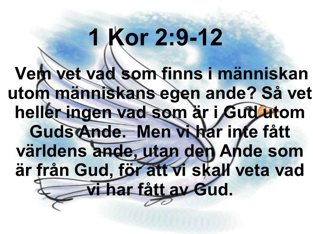 Vem vet vad som finns i människan utom människans egen ande? Så vet heller ingen vad som är i Gud utom Guds Ande. Men vi har inte fått världens ande,