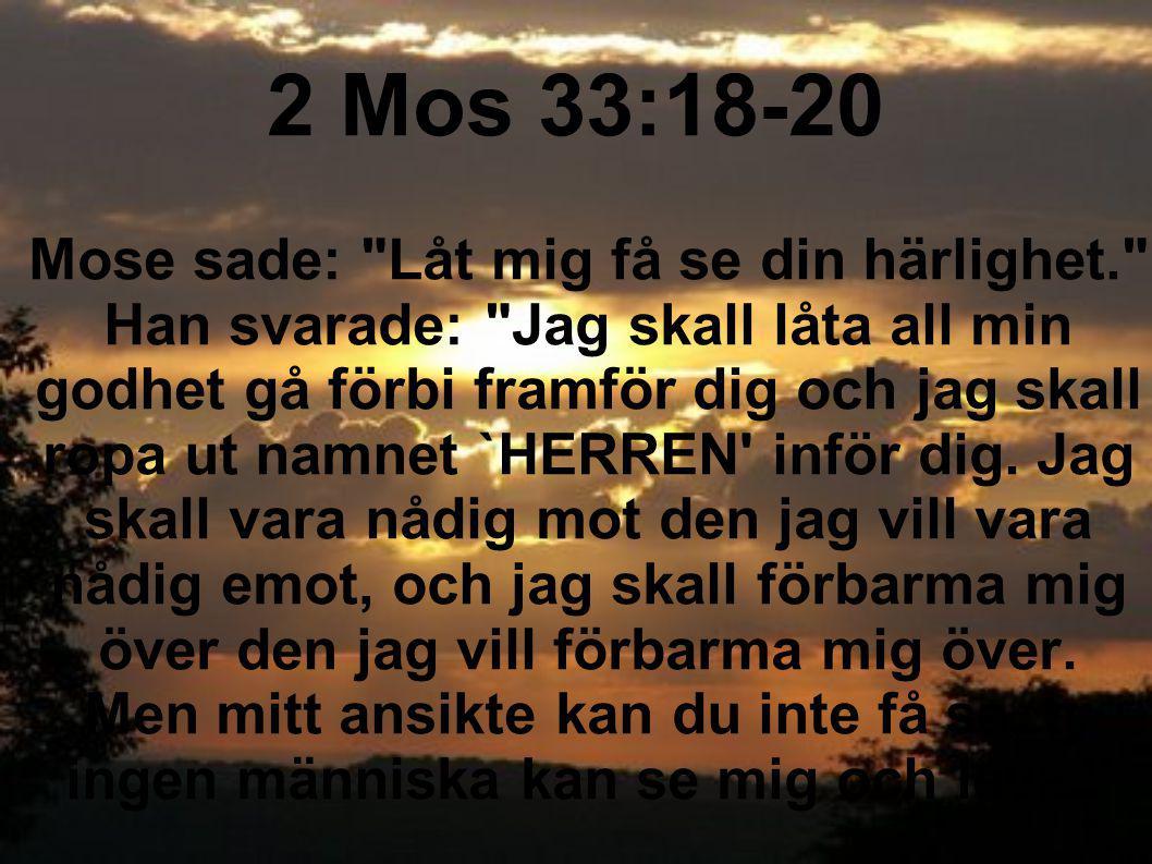 2 Mos 33:18-20 Mose sade: