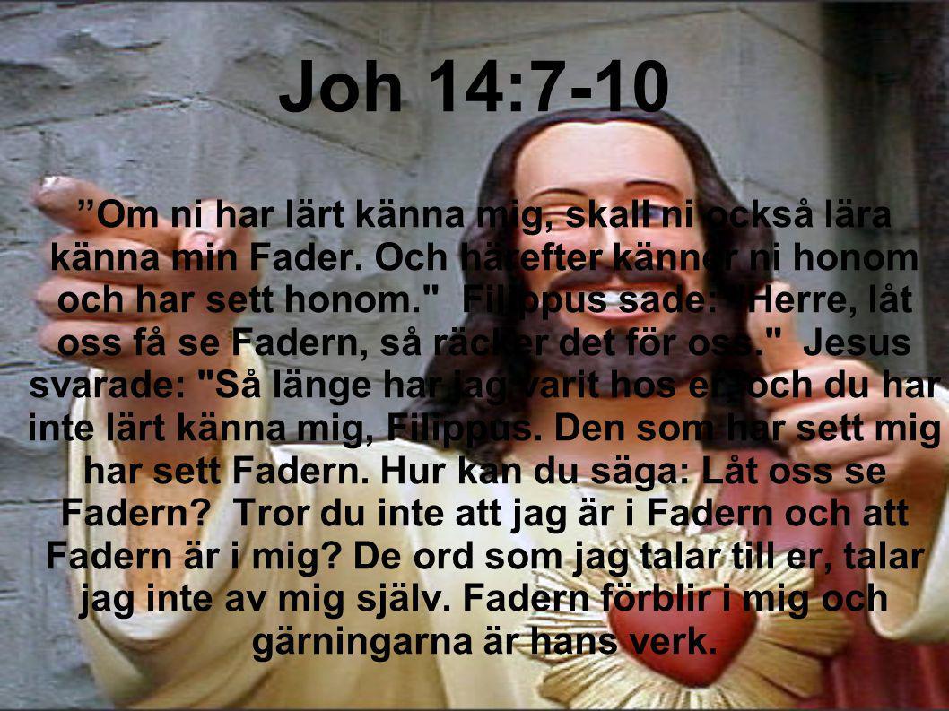 """Joh 14:7-10 """"Om ni har lärt känna mig, skall ni också lära känna min Fader. Och härefter känner ni honom och har sett honom."""