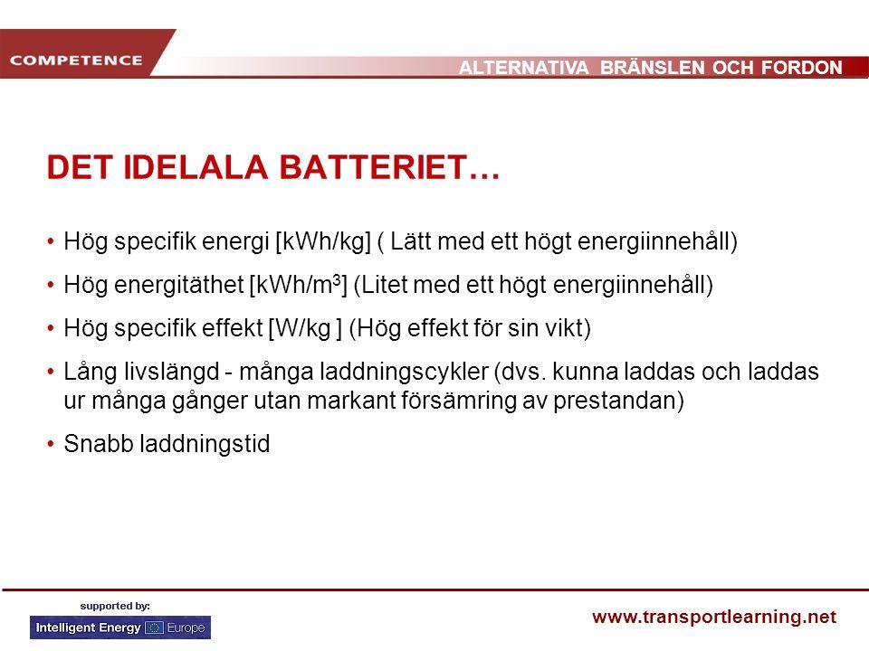 ALTERNATIVA BRÄNSLEN OCH FORDON www.transportlearning.net DET IDELALA BATTERIET… •Hög specifik energi [kWh/kg] ( Lätt med ett högt energiinnehåll) •Hö