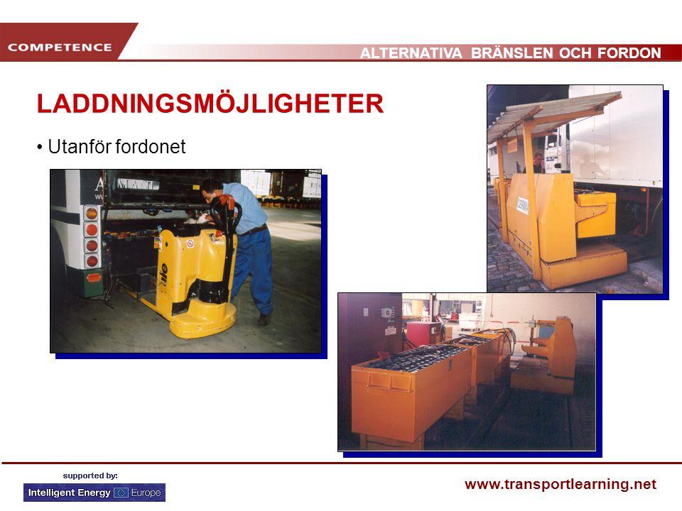 ALTERNATIVA BRÄNSLEN OCH FORDON www.transportlearning.net LADDNINGSMÖJLIGHETER • Utanför fordonet