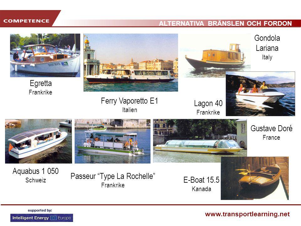 ALTERNATIVA BRÄNSLEN OCH FORDON www.transportlearning.net Aquabus 1 050 Schweiz Egretta Frankrike Gustave Doré France Ferry Vaporetto E1 Italien Lagon