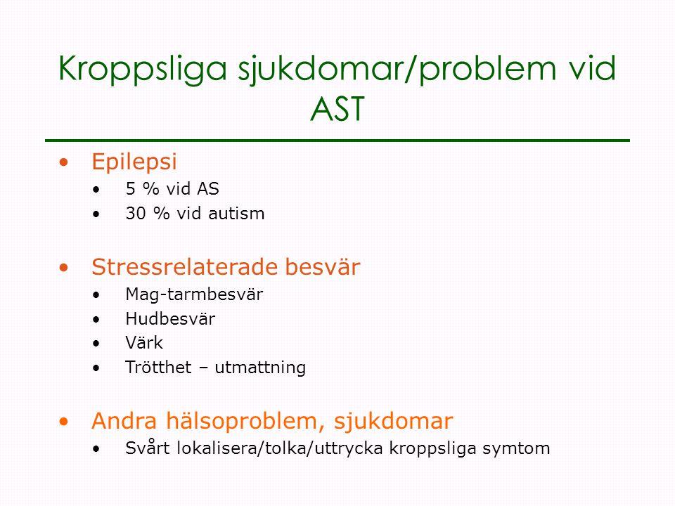 Kroppsliga sjukdomar/problem vid AST •Epilepsi •5 % vid AS •30 % vid autism •Stressrelaterade besvär •Mag-tarmbesvär •Hudbesvär •Värk •Trötthet – utmattning •Andra hälsoproblem, sjukdomar •Svårt lokalisera/tolka/uttrycka kroppsliga symtom