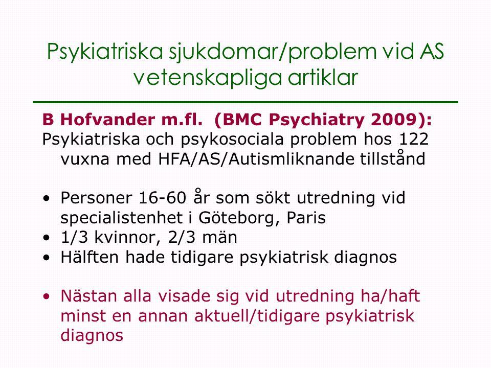 Psykiatriska sjukdomar/problem vid AS vetenskapliga artiklar B Hofvander m.fl.
