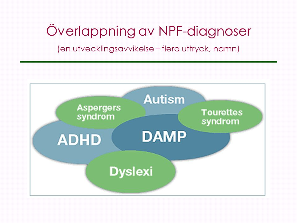 Överlappning av NPF-diagnoser (en utvecklingsavvikelse – flera uttryck, namn)