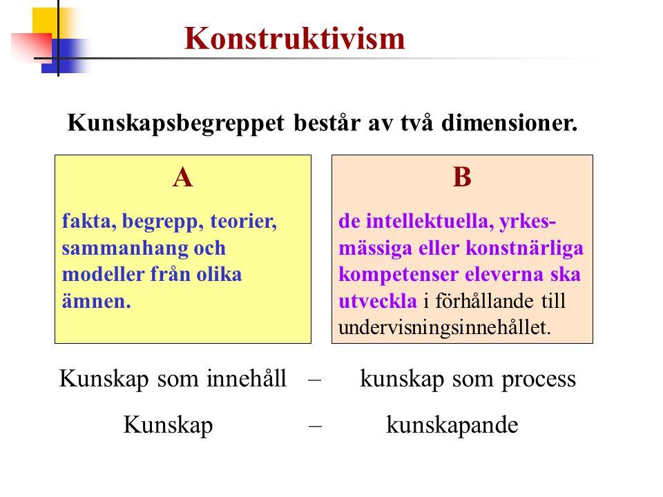 Kunskapsbegreppet består av två dimensioner. Konstruktivism Kunskap som innehåll – kunskap som process Kunskap – kunskapande B de intellektuella, yrke