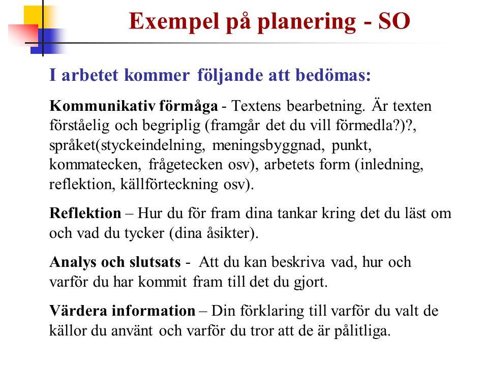 Exempel på planering - SO I arbetet kommer följande att bedömas: Kommunikativ förmåga - Textens bearbetning. Är texten förståelig och begriplig (framg