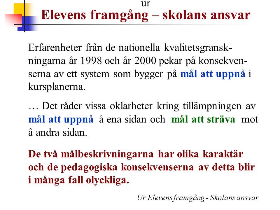 Erfarenheter från de nationella kvalitetsgransk- ningarna år 1998 och år 2000 pekar på konsekven- serna av ett system som bygger på mål att uppnå i ku