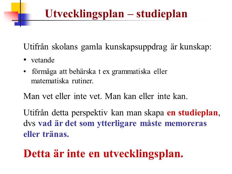 Utvecklingsplan – studieplan Utifrån skolans gamla kunskapsuppdrag är kunskap: • vetande • förmåga att behärska t ex grammatiska eller matematiska rut