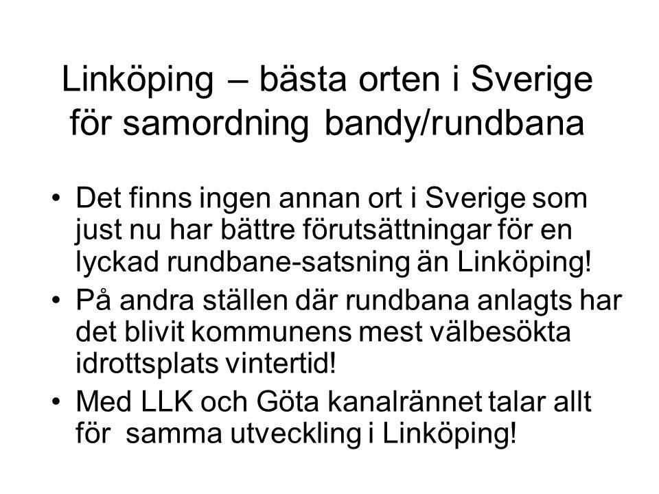 Linköping – bästa orten i Sverige för samordning bandy/rundbana •Det finns ingen annan ort i Sverige som just nu har bättre förutsättningar för en lyc