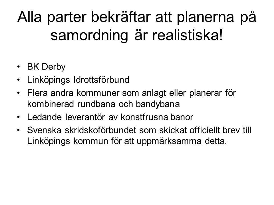 Alla parter bekräftar att planerna på samordning är realistiska! •BK Derby •Linköpings Idrottsförbund •Flera andra kommuner som anlagt eller planerar