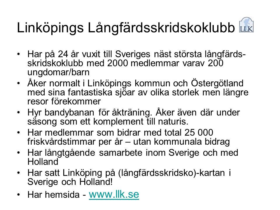 Linköpings Långfärdsskridskoklubb •Har på 24 år vuxit till Sveriges näst största långfärds- skridskoklubb med 2000 medlemmar varav 200 ungdomar/barn •