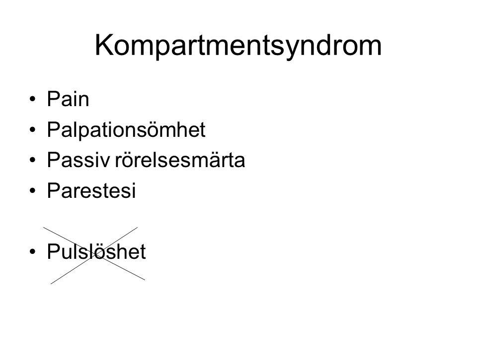 Kompartmentsyndrom •Pain •Palpationsömhet •Passiv rörelsesmärta •Parestesi •Pulslöshet