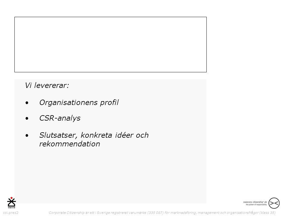 cci.pres2 Corporate Citizenship är ett i Sverige registrerat varumärke (335 087) för marknadsföring, management och organisationsfrågor (klass 35) Vi levererar: •Organisationens profil •CSR-analys •Slutsatser, konkreta idéer och rekommendation