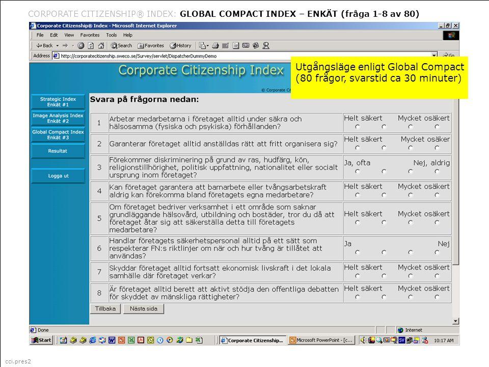 cci.pres2 Corporate Citizenship är ett i Sverige registrerat varumärke (335 087) för marknadsföring, management och organisationsfrågor (klass 35) CORPORATE CITIZENSHIP® INDEX: GLOBAL COMPACT INDEX – ENKÄT (fråga 1-8 av 80) cci.pres2 Utgångsläge enligt Global Compact (80 frågor, svarstid ca 30 minuter)