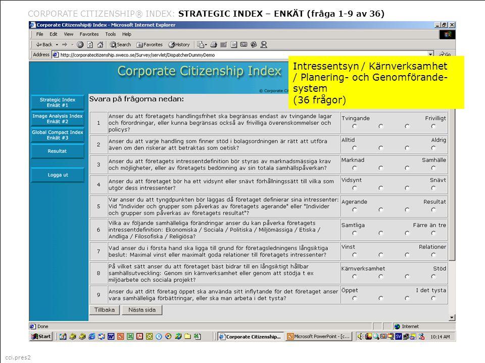 cci.pres2 Corporate Citizenship är ett i Sverige registrerat varumärke (335 087) för marknadsföring, management och organisationsfrågor (klass 35) CORPORATE CITIZENSHIP® INDEX: STRATEGIC INDEX – ENKÄT (fråga 1-9 av 36) cci.pres2 Intressentsyn / Kärnverksamhet / Planering- och Genomförande- system (36 frågor)