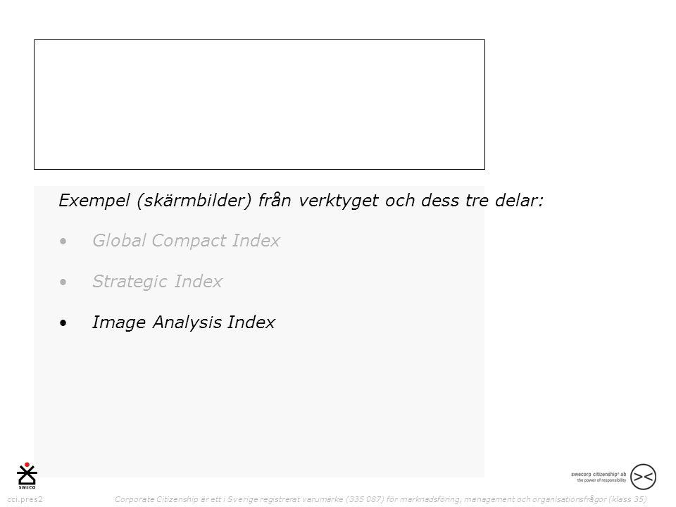 cci.pres2 Corporate Citizenship är ett i Sverige registrerat varumärke (335 087) för marknadsföring, management och organisationsfrågor (klass 35) Exempel (skärmbilder) från verktyget och dess tre delar: •Global Compact Index •Strategic Index •Image Analysis Index