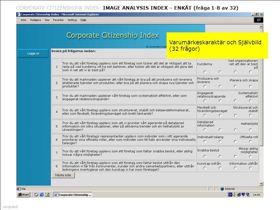 cci.pres2 Corporate Citizenship är ett i Sverige registrerat varumärke (335 087) för marknadsföring, management och organisationsfrågor (klass 35) CORPORATE CITIZENSHIP® INDEX: IMAGE ANALYSIS INDEX – ENKÄT (fråga 1-8 av 32) cci.pres2 Varumärkeskaraktär och Självbild (32 frågor)