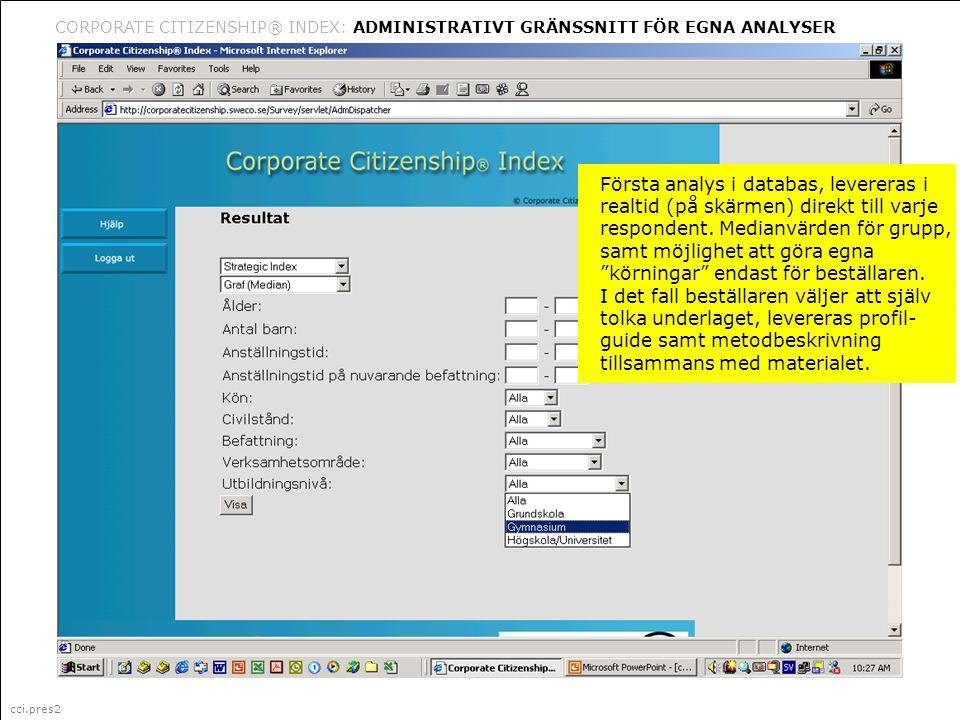 cci.pres2 Corporate Citizenship är ett i Sverige registrerat varumärke (335 087) för marknadsföring, management och organisationsfrågor (klass 35) CORPORATE CITIZENSHIP® INDEX: ADMINISTRATIVT GRÄNSSNITT FÖR EGNA ANALYSER cci.pres2 Första analys i databas, levereras i realtid (på skärmen) direkt till varje respondent.