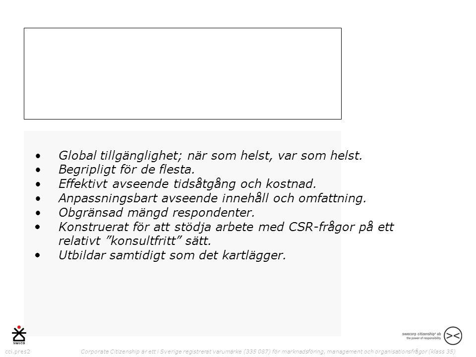 cci.pres2 Corporate Citizenship är ett i Sverige registrerat varumärke (335 087) för marknadsföring, management och organisationsfrågor (klass 35) •Global tillgänglighet; när som helst, var som helst.