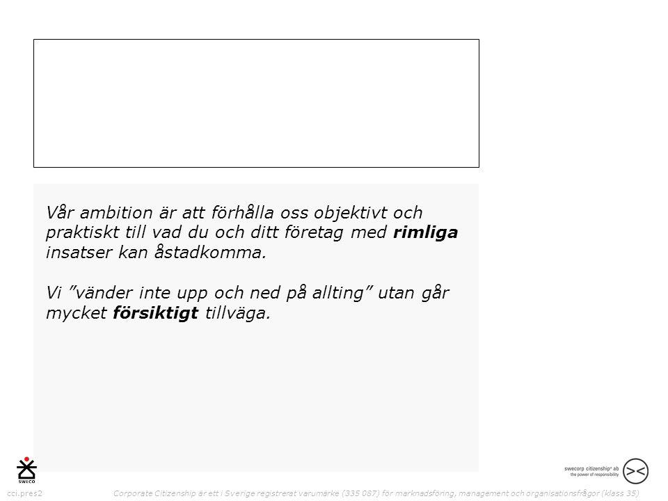 cci.pres2 Corporate Citizenship är ett i Sverige registrerat varumärke (335 087) för marknadsföring, management och organisationsfrågor (klass 35) Vår ambition är att förhålla oss objektivt och praktiskt till vad du och ditt företag med rimliga insatser kan åstadkomma.