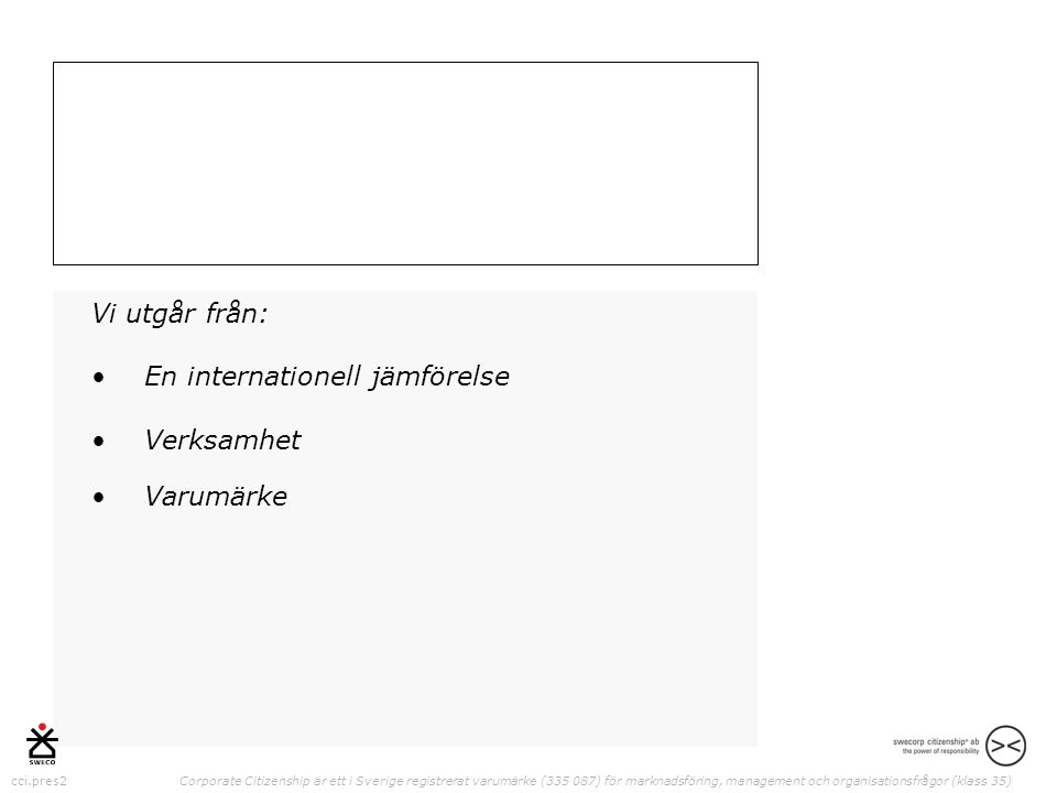 cci.pres2 Corporate Citizenship är ett i Sverige registrerat varumärke (335 087) för marknadsföring, management och organisationsfrågor (klass 35) Vi utgår från: •En internationell jämförelse •Verksamhet •Varumärke