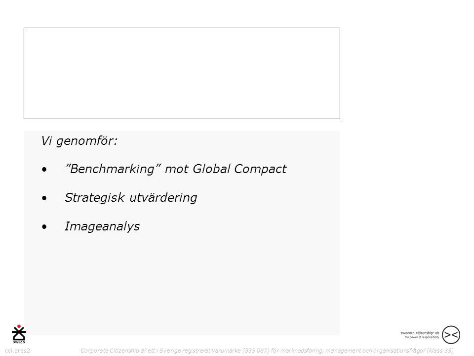 cci.pres2 Corporate Citizenship är ett i Sverige registrerat varumärke (335 087) för marknadsföring, management och organisationsfrågor (klass 35) Vi genomför: • Benchmarking mot Global Compact •Strategisk utvärdering •Imageanalys