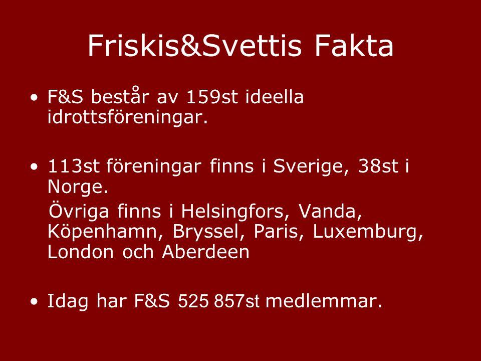 Friskis&Svettis Fakta •F&S består av 159st ideella idrottsföreningar. •113st föreningar finns i Sverige, 38st i Norge. Övriga finns i Helsingfors, Van