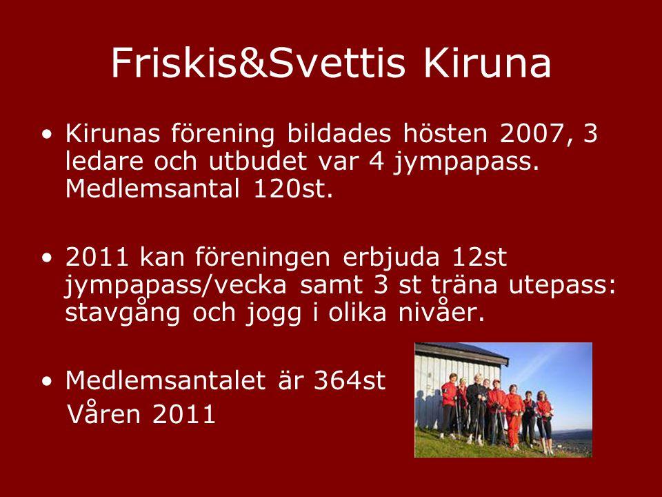 Friskis&Svettis Kiruna •Kirunas förening bildades hösten 2007, 3 ledare och utbudet var 4 jympapass. Medlemsantal 120st. •2011 kan föreningen erbjuda