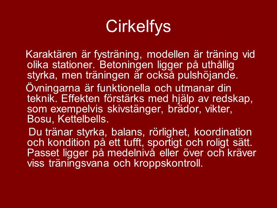 Cirkelfys Karaktären är fysträning, modellen är träning vid olika stationer. Betoningen ligger på uthållig styrka, men träningen är också pulshöjande.